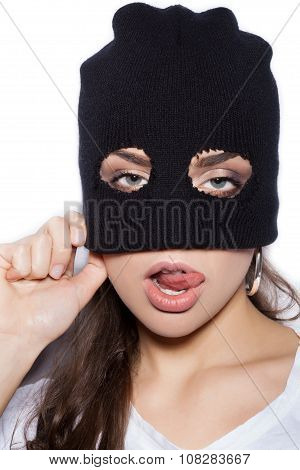 Sexy Girl In Balaclava - Crime And Violence