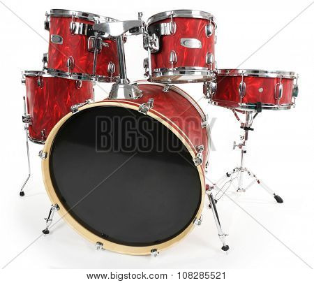 Set of red drums isolated on white background, close up
