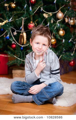 Boy Near Christmas Tree
