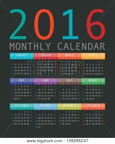 Vector Calendar Grid For 2016. Rigorous Design.