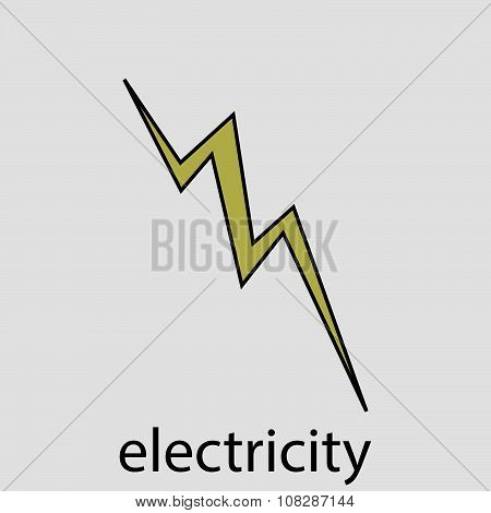 Icon electricity flat design lightning