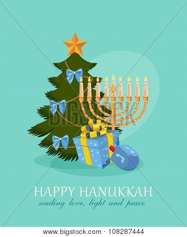 Happy Hanukkah greeting card design, jewish holiday. Vector illustration