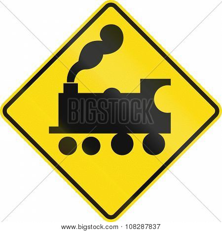 New Zealand Road Sign - Uncontrolled Railway Crossing Ahead
