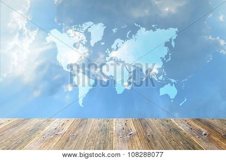 Wood Terrace And Blue Sky With World Map