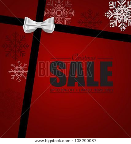 End of year sale. Gift coupon with gift bow and ribbon. Modern Style template Design vector illustration.