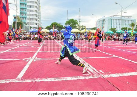 Nha Trang, Vietnam - July 13, 2015: Martial Arts Of Human Chess In A Festival On The Beach Of Nha Tr
