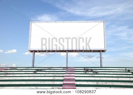 Empty White Digital Billboard Screen For Advertising In Stadium , With Clipping Path.