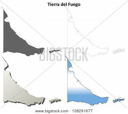 Tierra del Fuego blank outline map set
