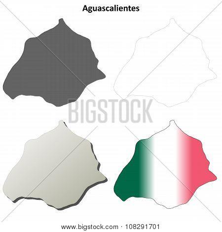 Aguascalientes blank outline map set