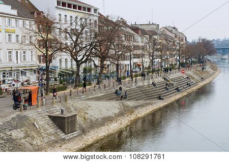 View to the riverside of Rhine river in Basel, Switzerland.