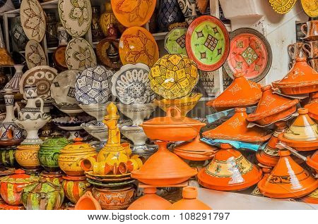 Display of ceramic craft in Marrakesh, Morocco