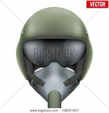Military flight fighter pilot helmet. Vector.