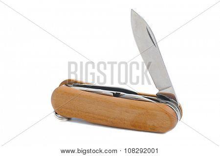Multifunction folding knife isolated on white background