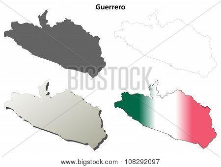 Guerrero blank outline map set