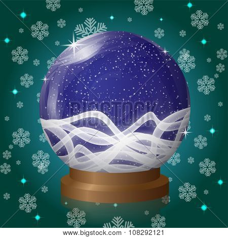 Blue Empty Snow Globe With Blizzard Retro Design