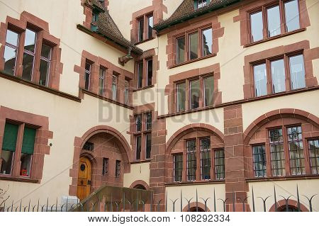 Exterior of the inner yard of the city hall building in Basel, Switzerland.