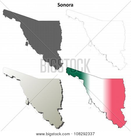 Sonora blank outline map set