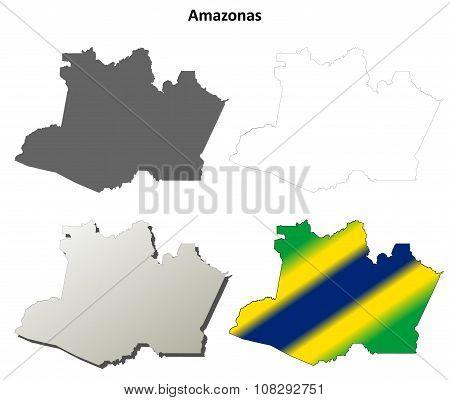 Amazonas blank outline map set