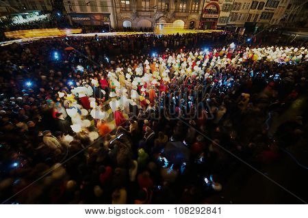 eople take part in Morgestraich - Carnival opening in Basel, Switzerland.