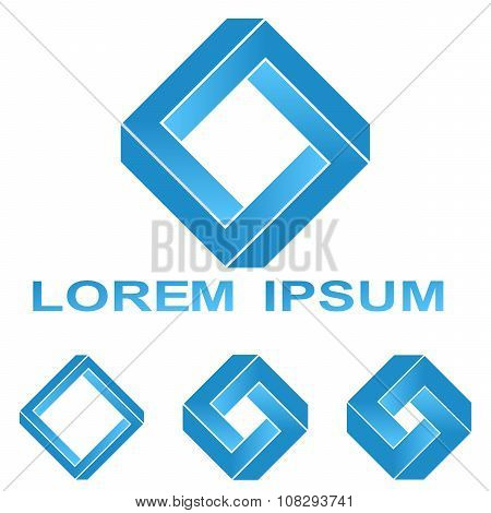 Blue Penrose rectangle company symbol design set