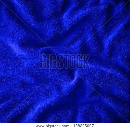 Close Up  On Crumpled Blue Fur Fabric Texture