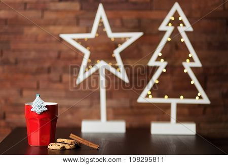 Cup Of Coffee And Christmas Decor