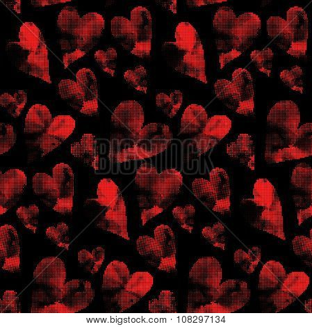 Red hearts made from many round dots. Seamless Valentine's Day pattern.