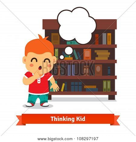 Thinking kid in front of full bookshelf
