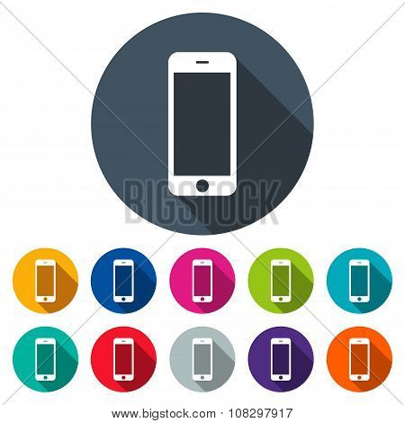 Smartphone Icons Set Colored In The Style Flat Design On The White Background. Stock Vector Illustra
