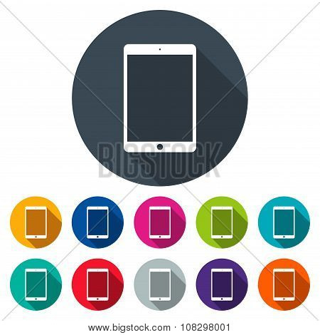 Tablet Icons Colored Set In The Style Flat Design On The White Background. Stock Vector Illustration