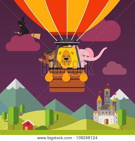 Happy cartoon animals flying on hot air balloon