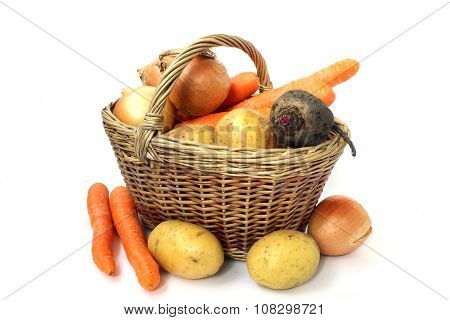 Wicker Basket Of Various Vegetables