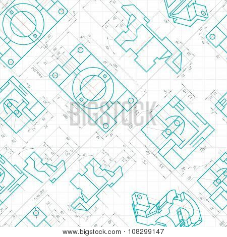 Seamless Pattern Of Engineering Drawings Of Parts. Vector