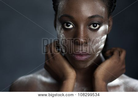 Face And Hands Of Black Woman