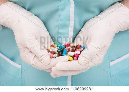 Pills In Woman Hands