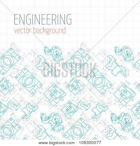 Poster, Cover, Banner, Background Of Blue Engineering Drawings Of Parts. Vector