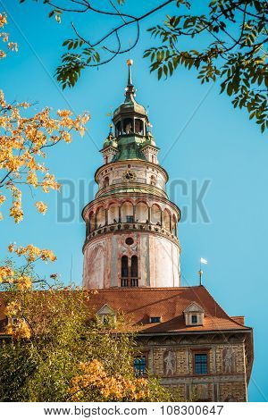 Castle tower in Cesky Krumlov, Czech republic. Sunny autumn day.