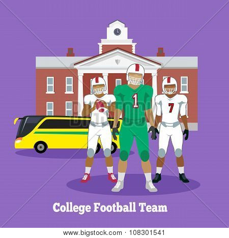 College Football Team Concept Flat Design