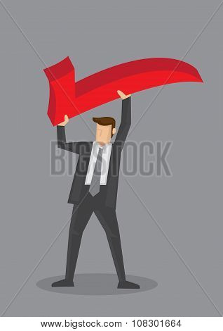 Business Professional Holding Check Symbol Vector Illustration