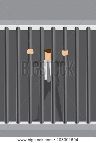 Businessman Behind Bars Vector Cartoon Illustration