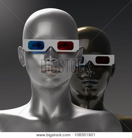 two people in stereoscopic glasses