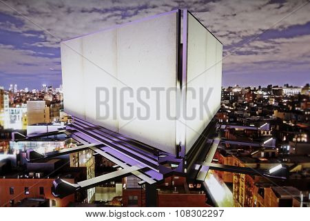 Blank Billboard On The Background Of The City At Night, Mock Up