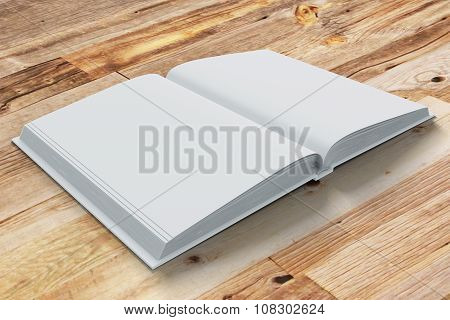 Blank Pages Of Opened Diary On Wooden Table, Mock Up