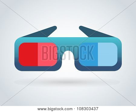Cinema movie glasses on white background