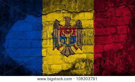Flag of Moldova, Moldovan Flags painted on brick wall
