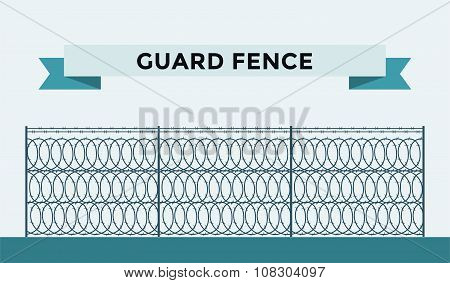 Metallic fence isolated on background