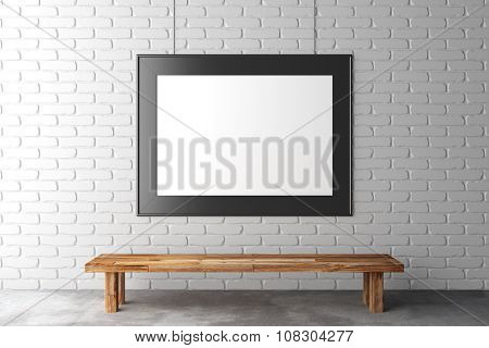 Blank Picture Frame On Brick Wall With Wooden Bench On Concrete Floor, Mock Up