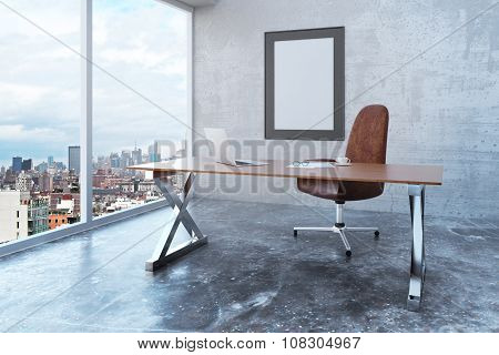 Blank Picture Frame In Loft Office With City View, Modern Furniture And Concrete Wall And Floor, Moc