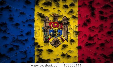 Flag of Moldova, Moldovan Flags painted on wall with bullet holes