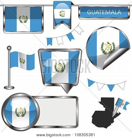Glossy Icons With Flag Of Guatemala